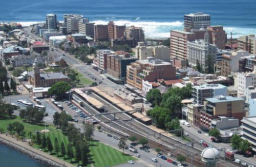 Aerial of Newcastle Station - A Google image