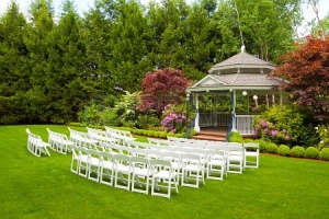 Empty chairs at garden wedding - a Google image