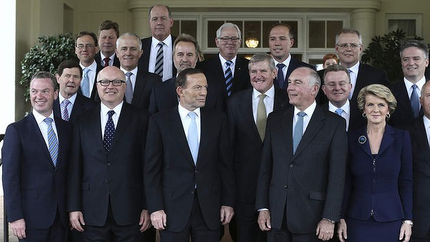 P.M. Tony Abbott And His Cabinet.