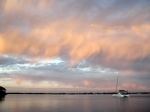 35 (1) - Calm sailing, dusk, Lake Macquarie.